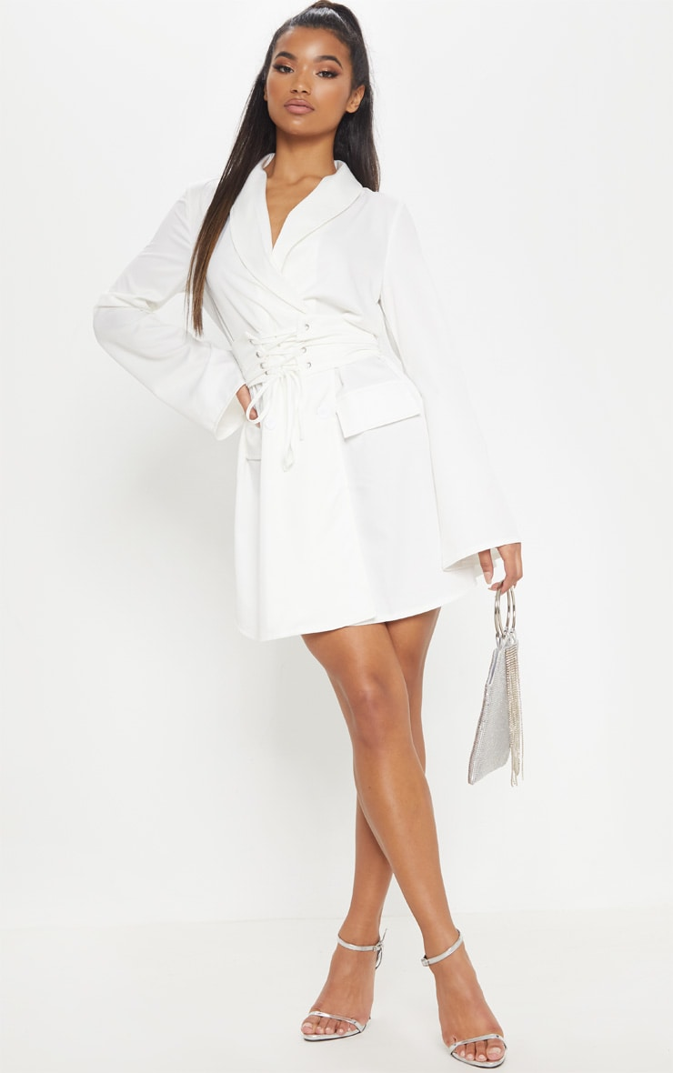 White Corset Blazer Dress | Dresses | PrettyLittleThing