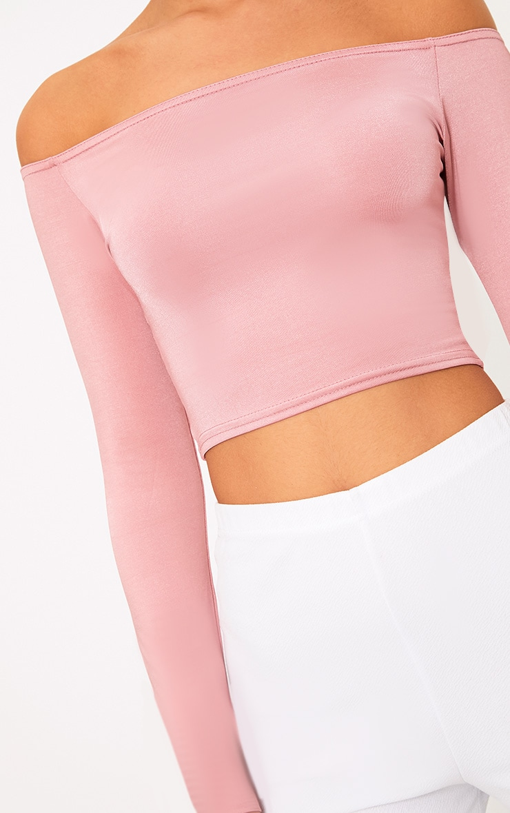 Alivia Rose Disco Slinky Bardot Longsleeve Crop Top 5