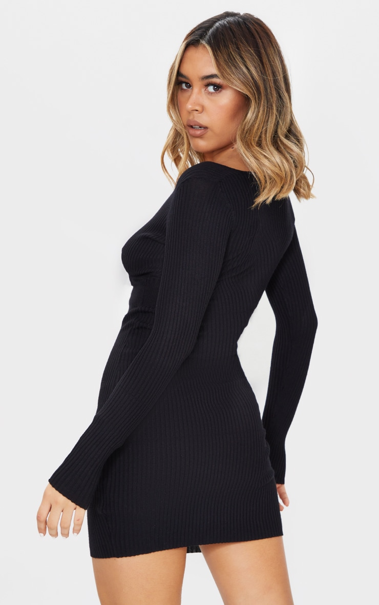 Black Skinny Ribbed Knitted Wrap Front Bodycon Dress 2