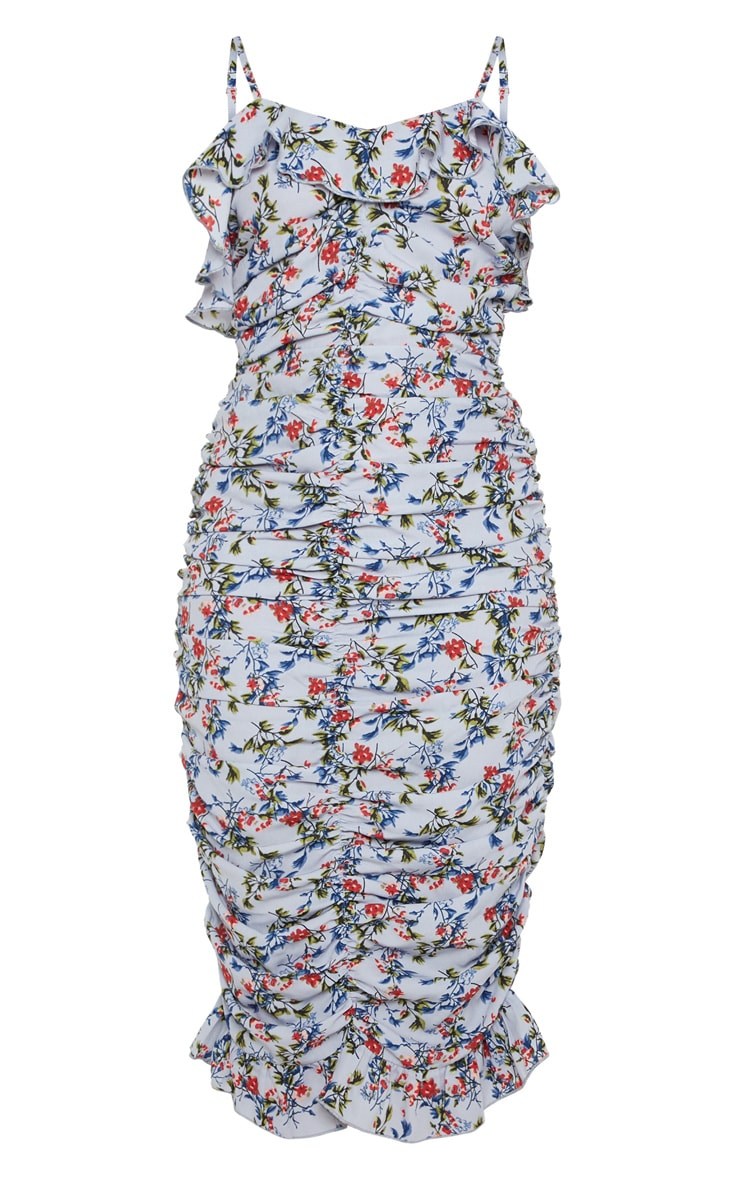 Dusty Blue Blue Floral Multi Ruched Frill Top Midi Dress 3