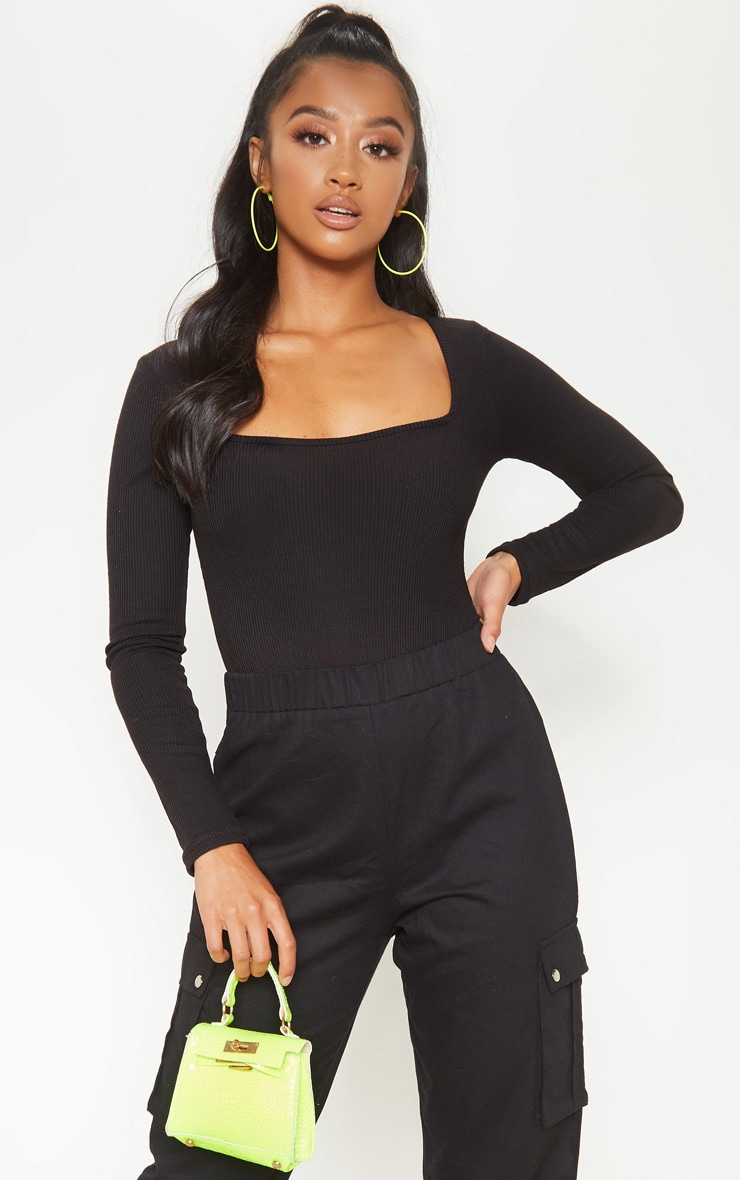 Petite Black Ribbed Square Neck Long Sleeve Bodysuit  1