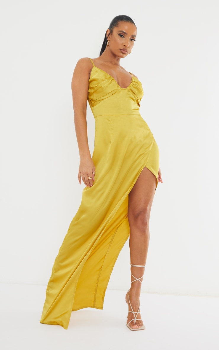 Chartreuse Ruched Bust Satin Maxi Dress 1