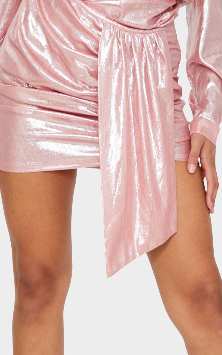 Pink Metallic Ruched Mini Skirt 5