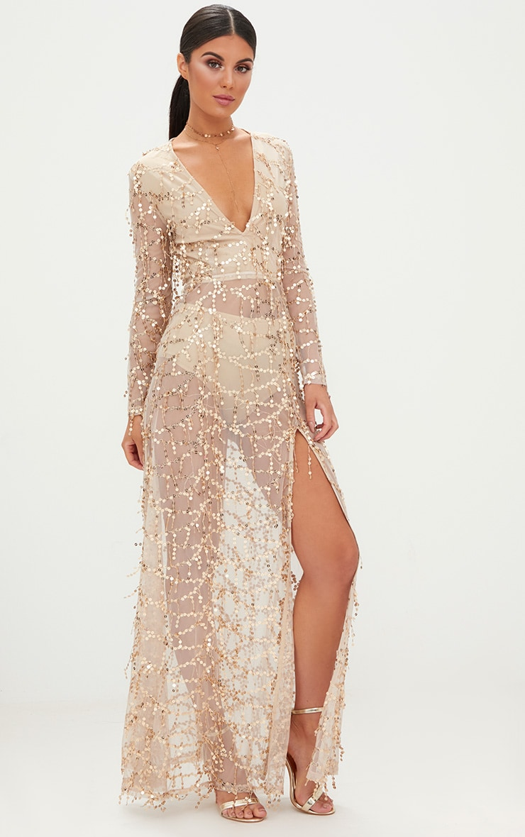 Valentina robe maxi or à manches longues et sequins 4
