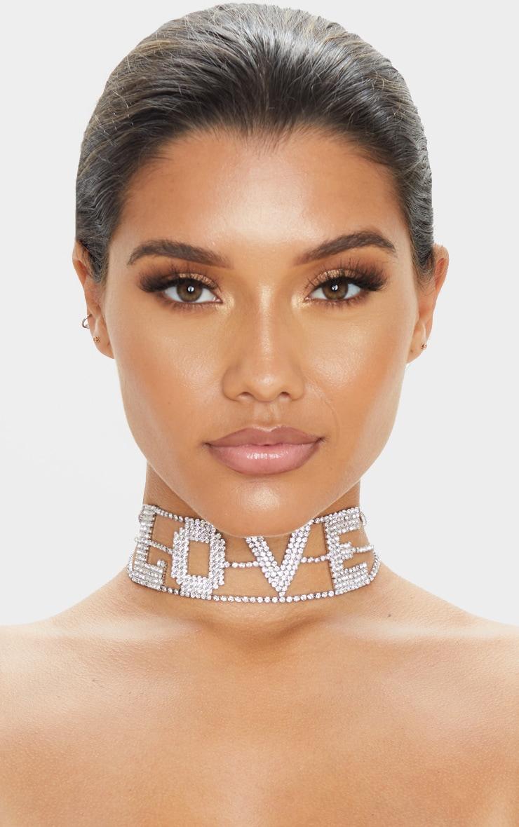Silver Diamante Love Slogan Choker 1