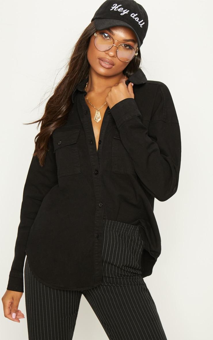 Black Oversized Denim Shirt 2
