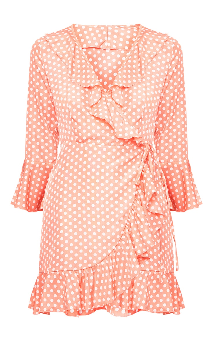 Pink Polkadot Frill Wrap Dress  3