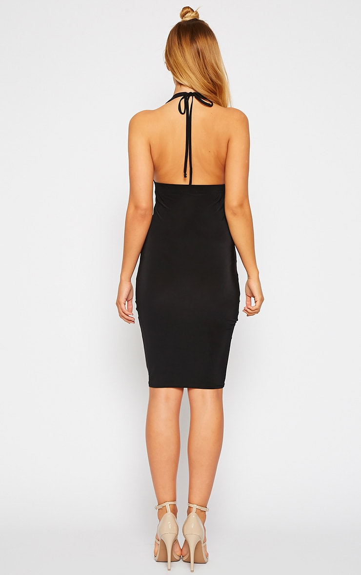 Lucienne Black Plunge Ruched Front Dress 2