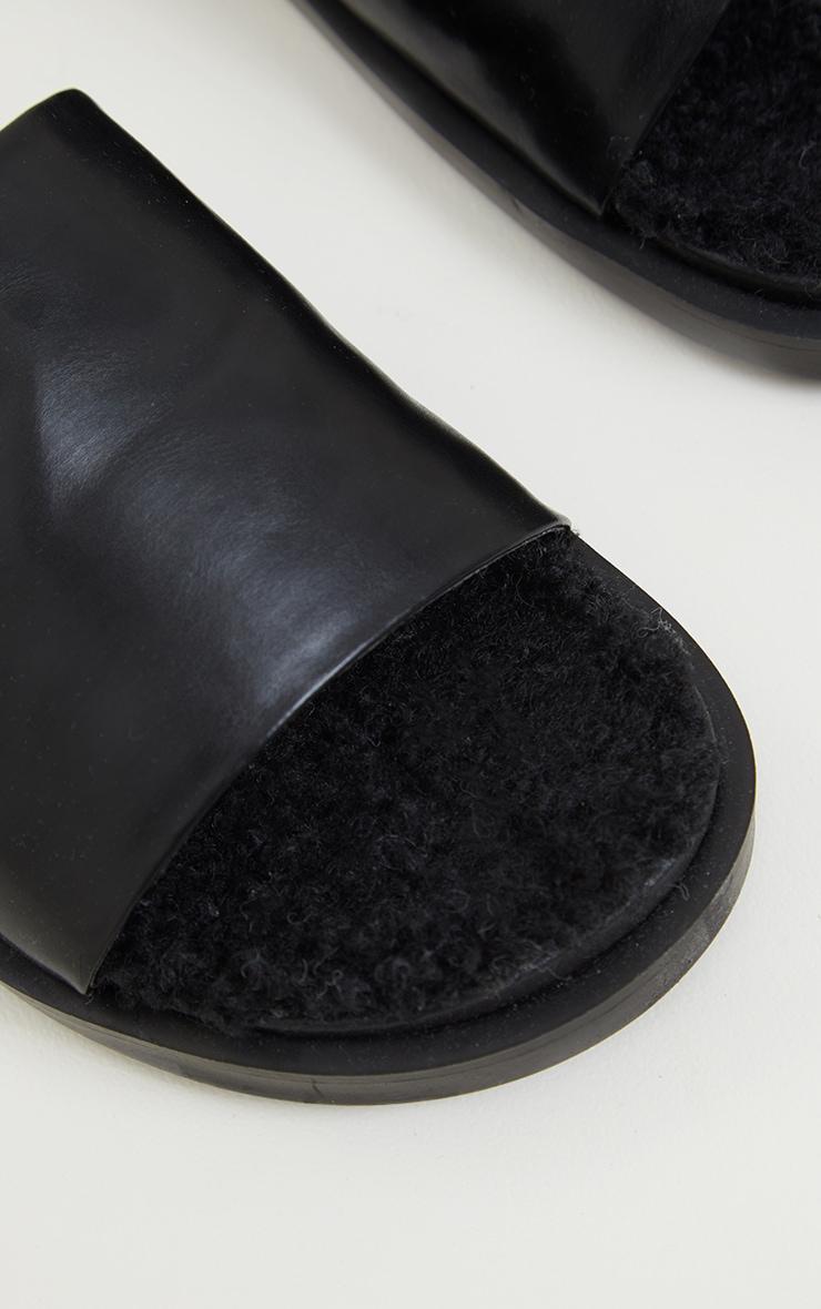 Black Faux Fur Sock Mule Slides 4
