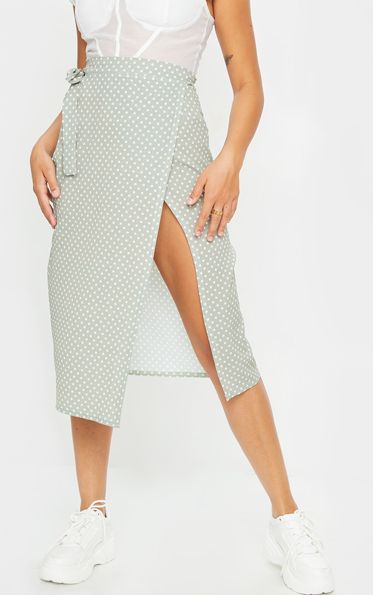Sage Polka Dot Wrap Around Midi Skirt 2