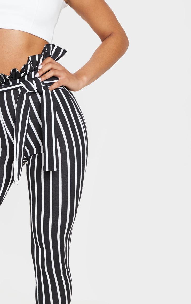 Black Pinstripe Paperbag Skinny Trousers 5