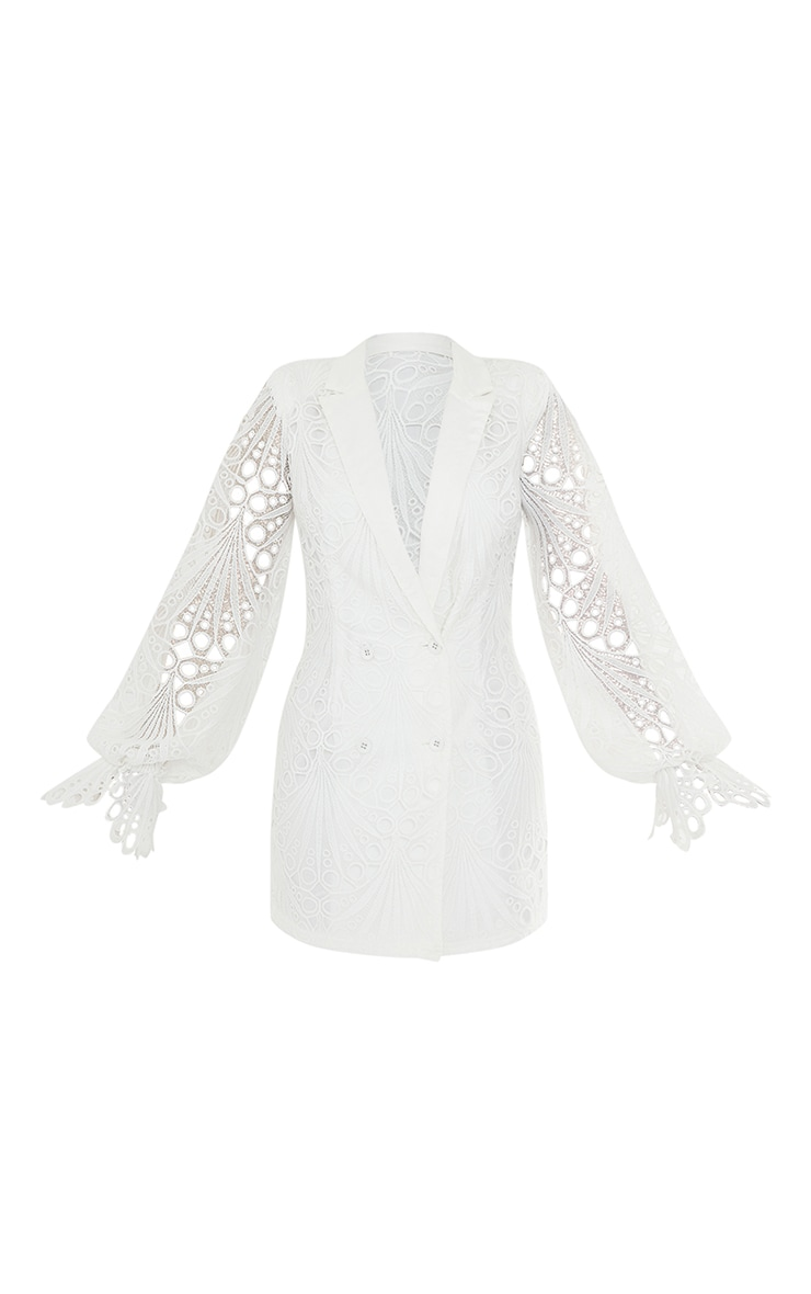 White Thick Lace Frill Sleeve Blazer Dress 5