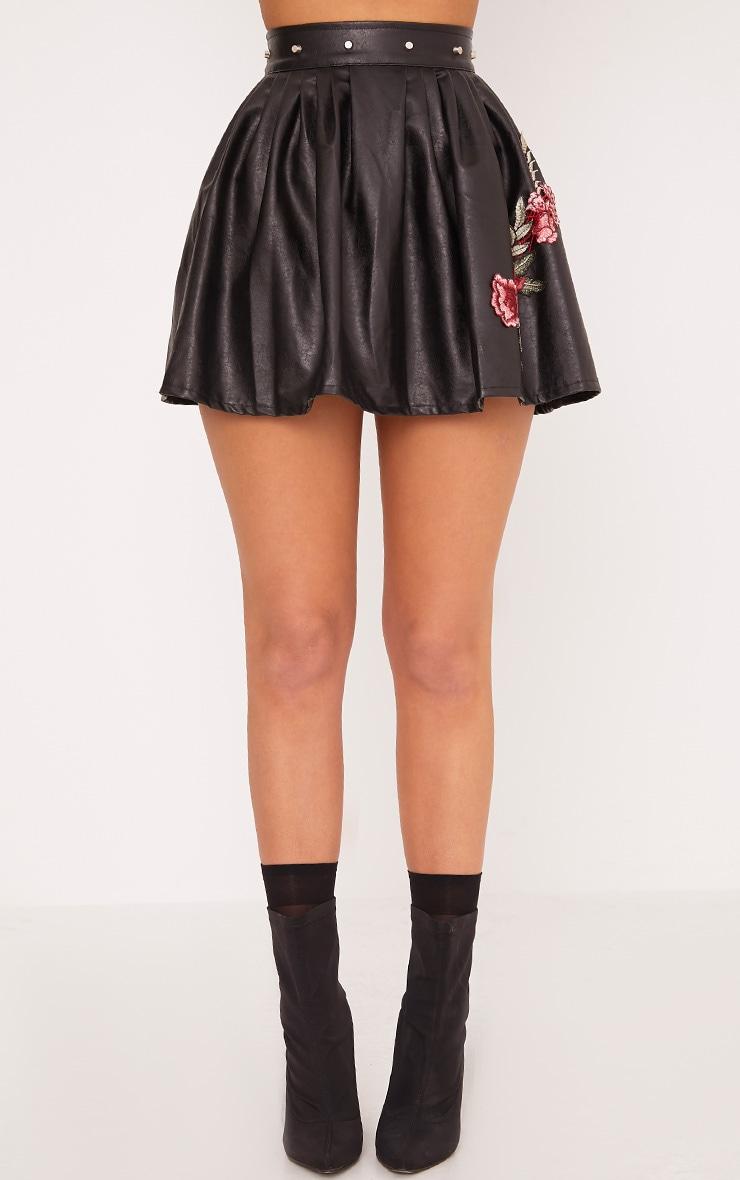 Dianora Black Studded PU Skater Skirt 2