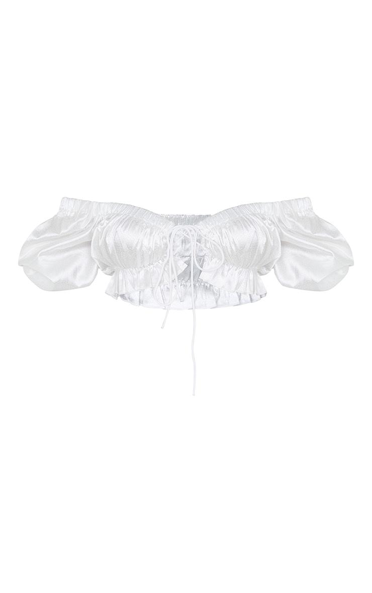 White Satin Tie Front Short Puff Sleeve Crop Top 5