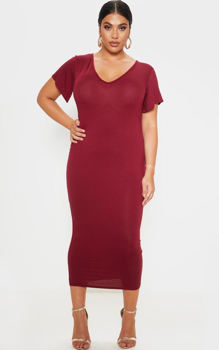 Plus Burgundy Jersey V Neck T- Shirt Midi Dress 1