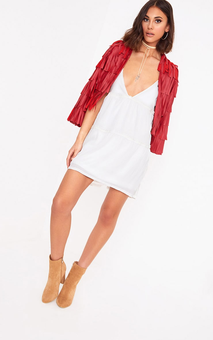 White Cheese Cloth Strappy Frill Shift Dress 4