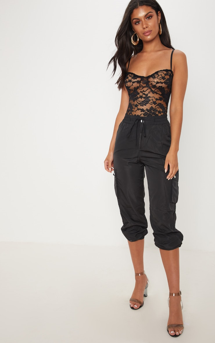 Black Strappy Lace Cup Detail Thong Bodysuit 5