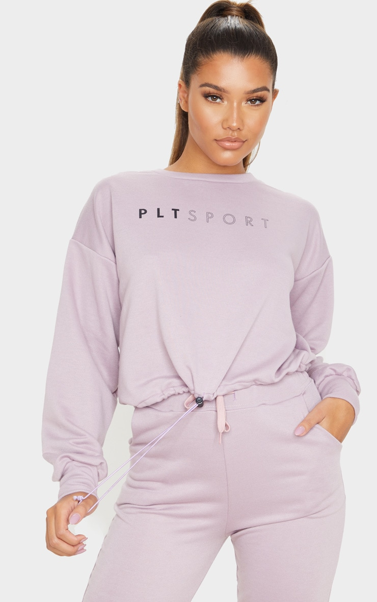 PRETTYLITTLETHING Mauve Basic Gym Sweat Top 1