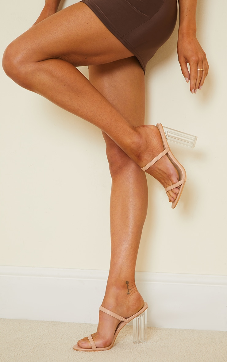 Nude WIDE FIT PU Patent Double Strap Clear Block High Heels 2
