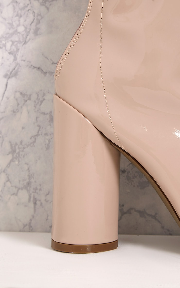 Amie Nude Patent Heeled Ankle Boots 5