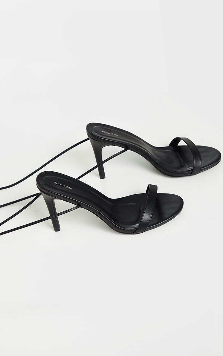 Black Wide Fit Barely There Ankle Tie Strappy Sandals 3