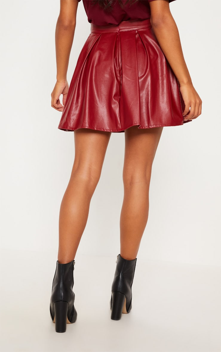 Burgundy Belted Faux Leather Pleated Mini Skirt 4