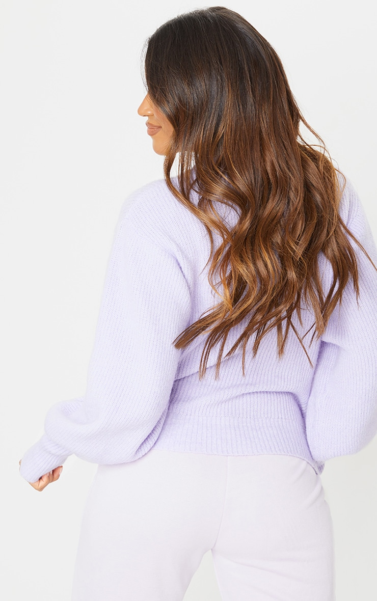 Lilac Extreme Balloon Sleeve Knitted Jumper 2