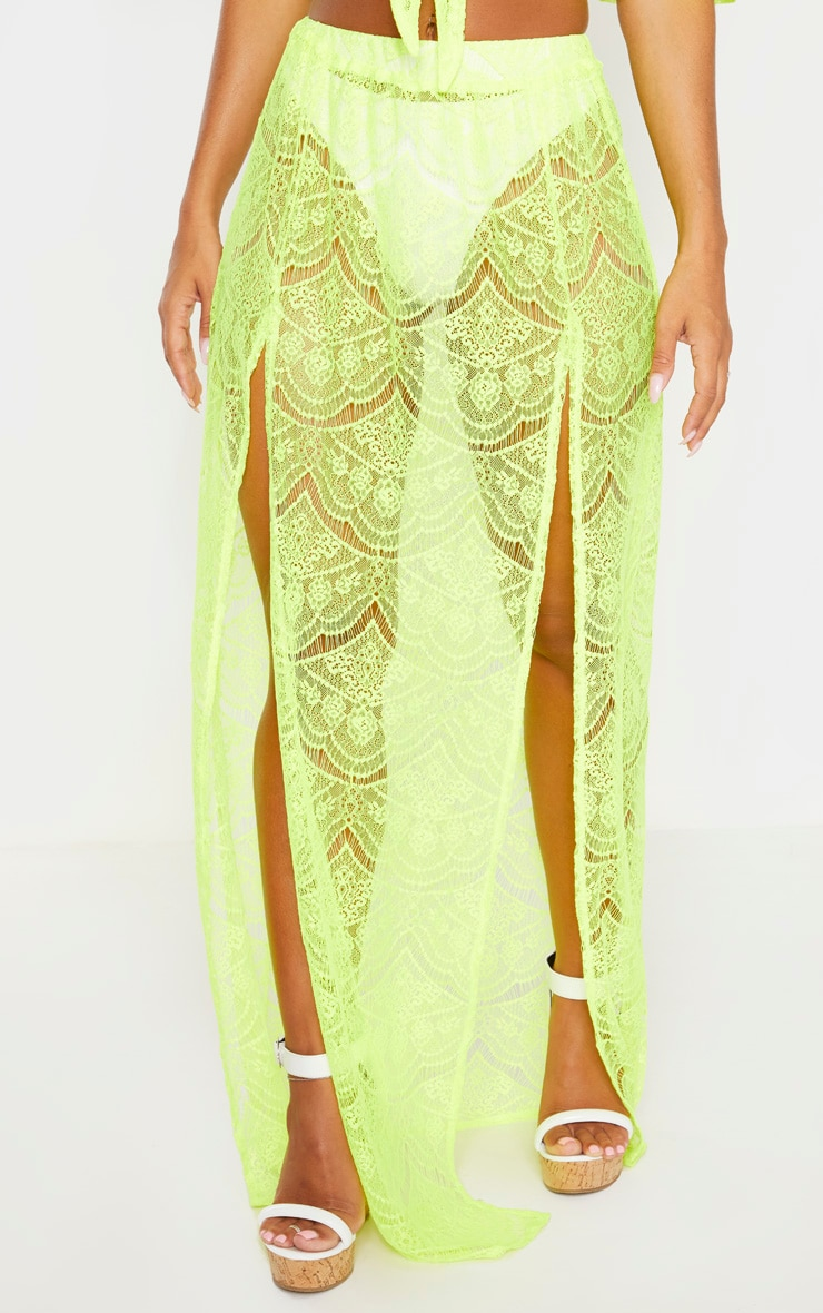 Neon Yellow Lace Split Maxi Beach Skirt 2