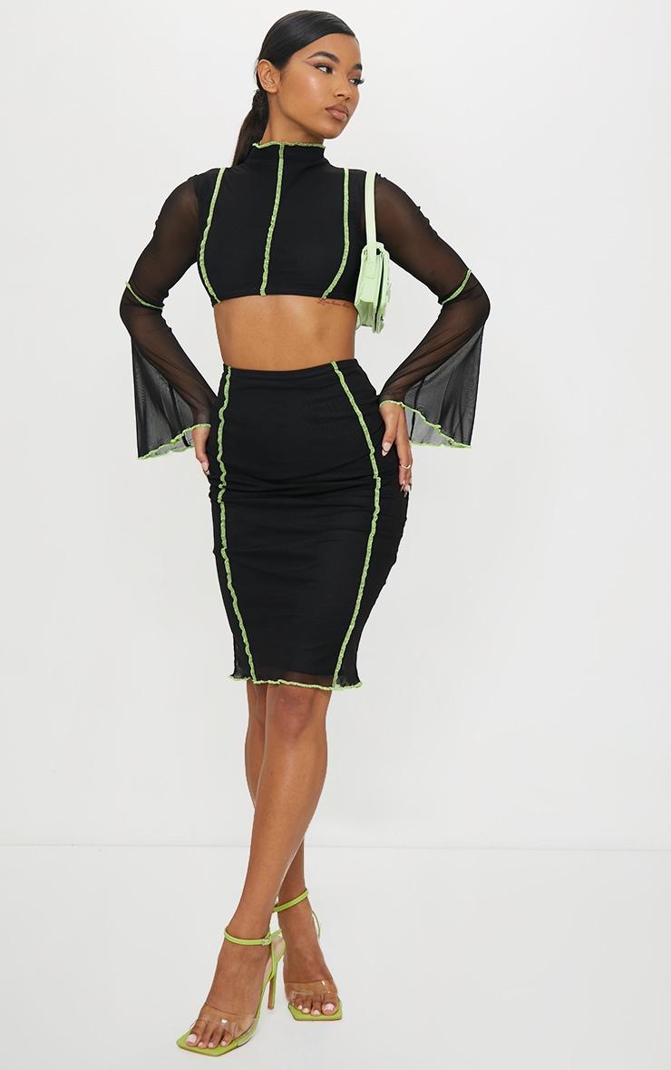 Black Mesh Stitch Detail Cut Out Flare Sleeve Midi Dress 1