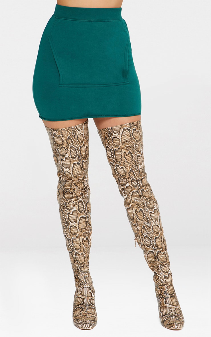 Emerald Green Sweat Pocket Mini Skirt 2