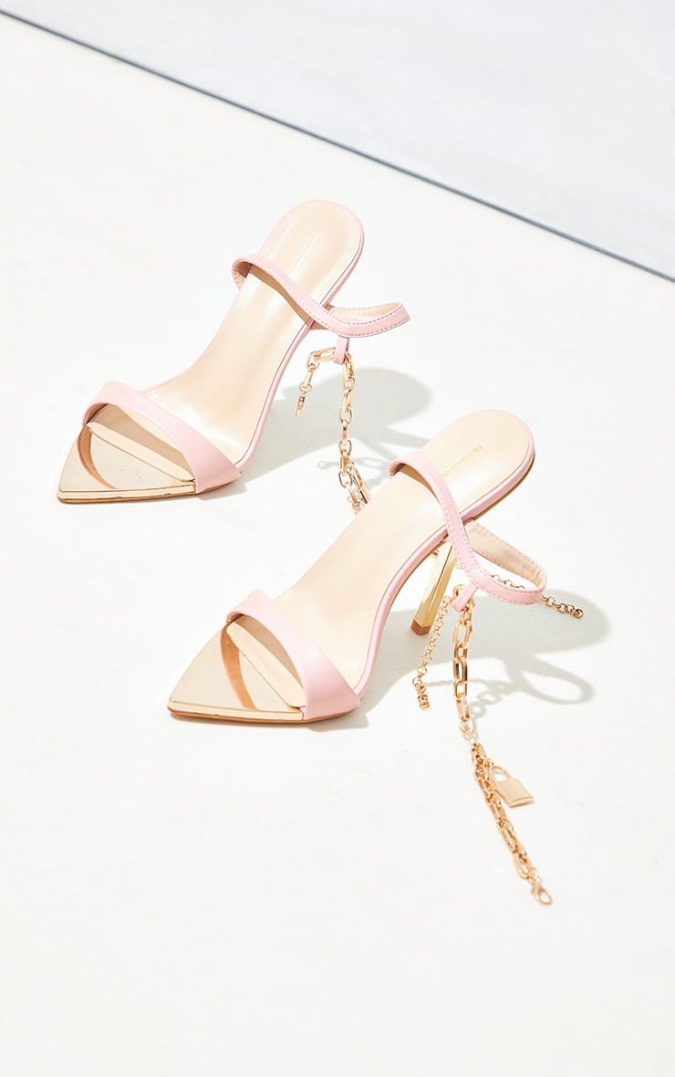 Baby Pink Pointed Toe Chain Ankle Lock Detail Heeled Sandals 4