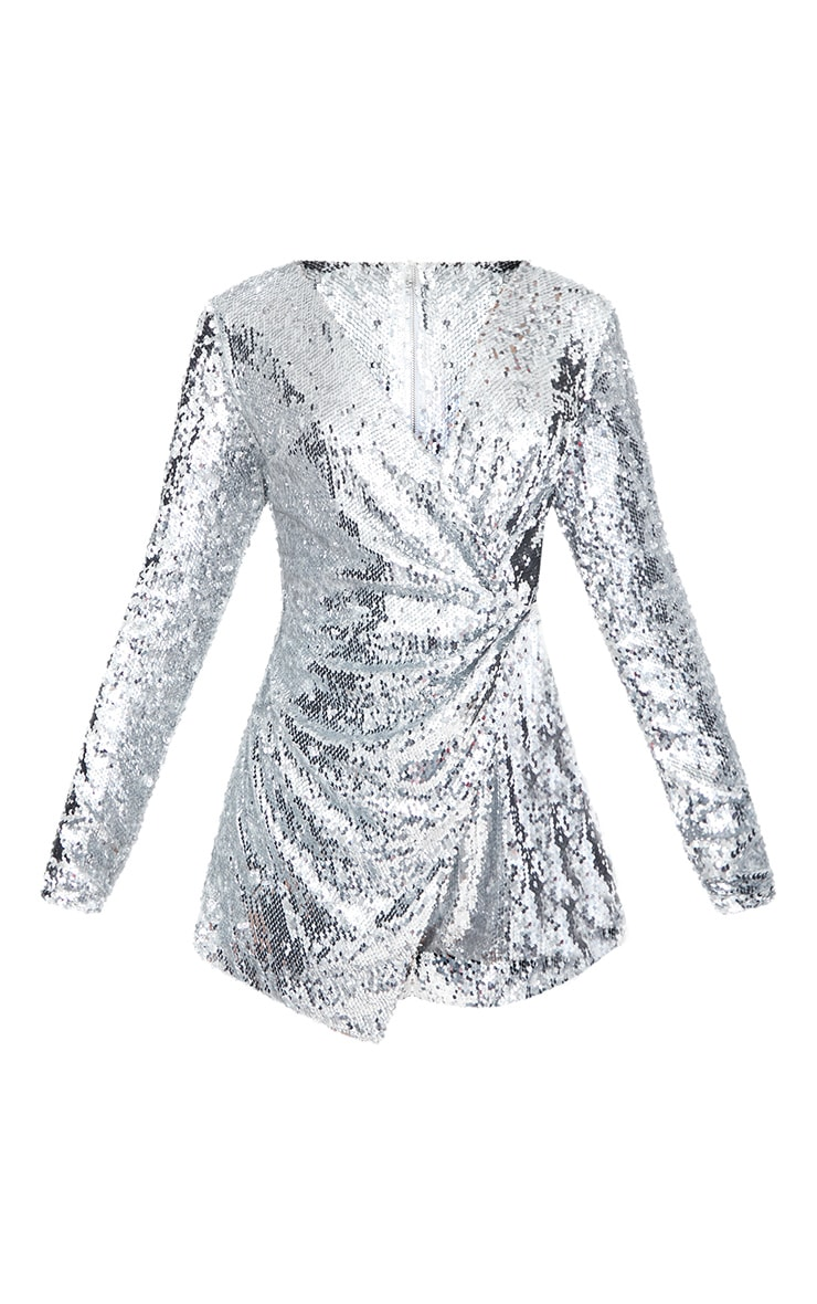 Silver Sequin Long Sleeve Wrap Playsuit 4