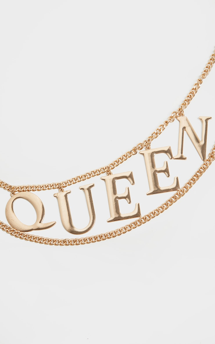 Gold Chain Queen Slogan Chain Belt 2