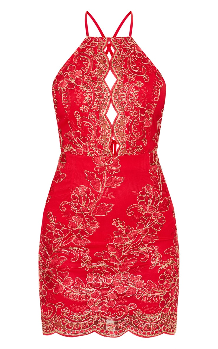 Red Embroidered Lace Scallop Hem Bodycon Dress 3