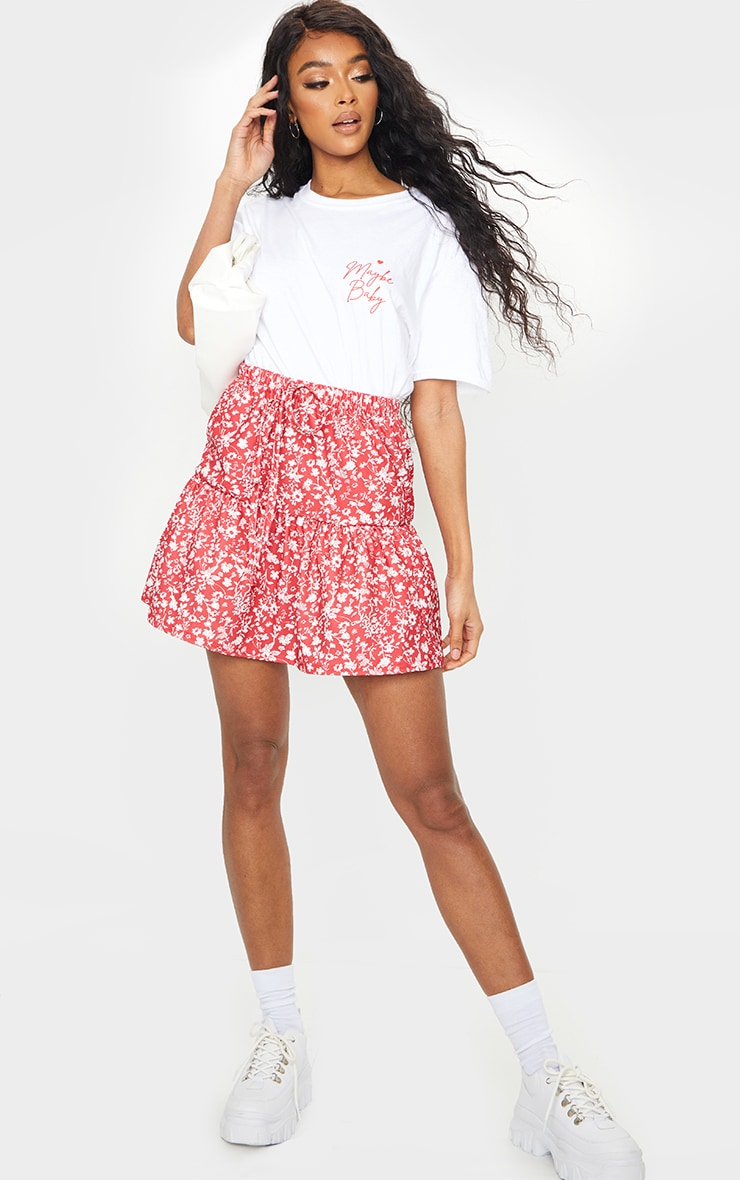Red Ditsy Floral Tie Waist Ruffle Skirt 4