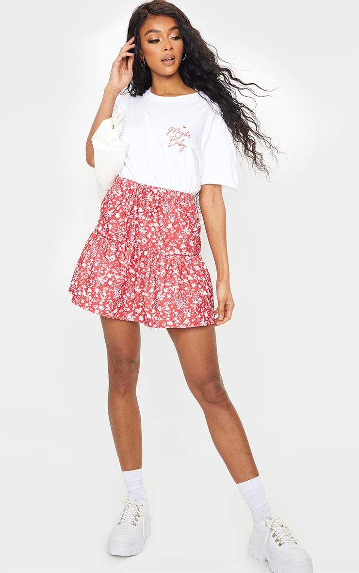 Jupe volantée rouge à imprimé petites fleurs et lien à la taille 4