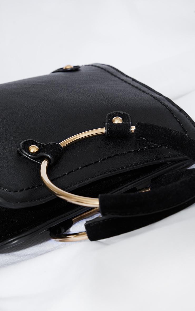 Black Hoop Handle Shoulder Bag 3