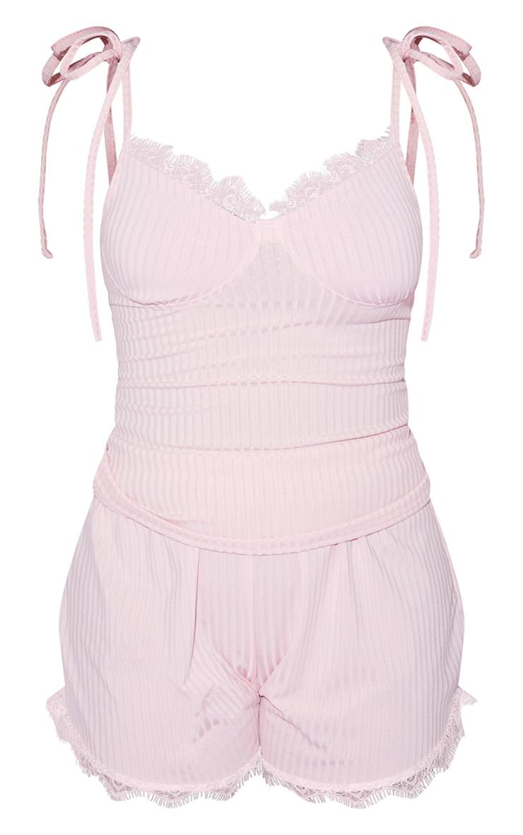 PRETTYLITTLETHING X Coppa Feel Pink Tie Strap Rib Lace Short PJ Set 5