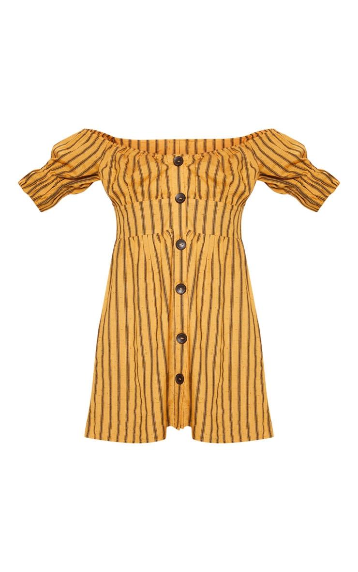 Mustard Stripe Button Through Bardot Shift Dress 3