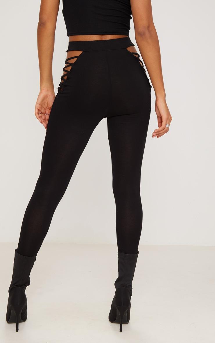 Black Jersey Lace Up Insert Leggings 4