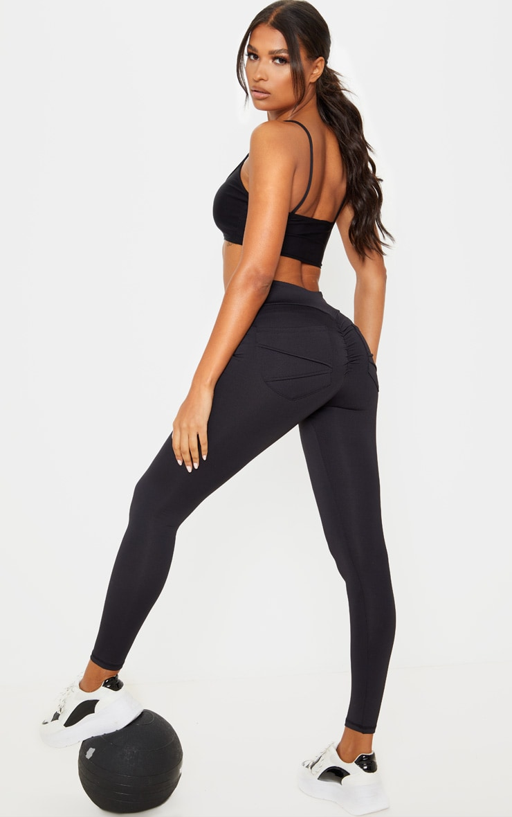 Black Ruched Pocket Bum Gym Legging 1
