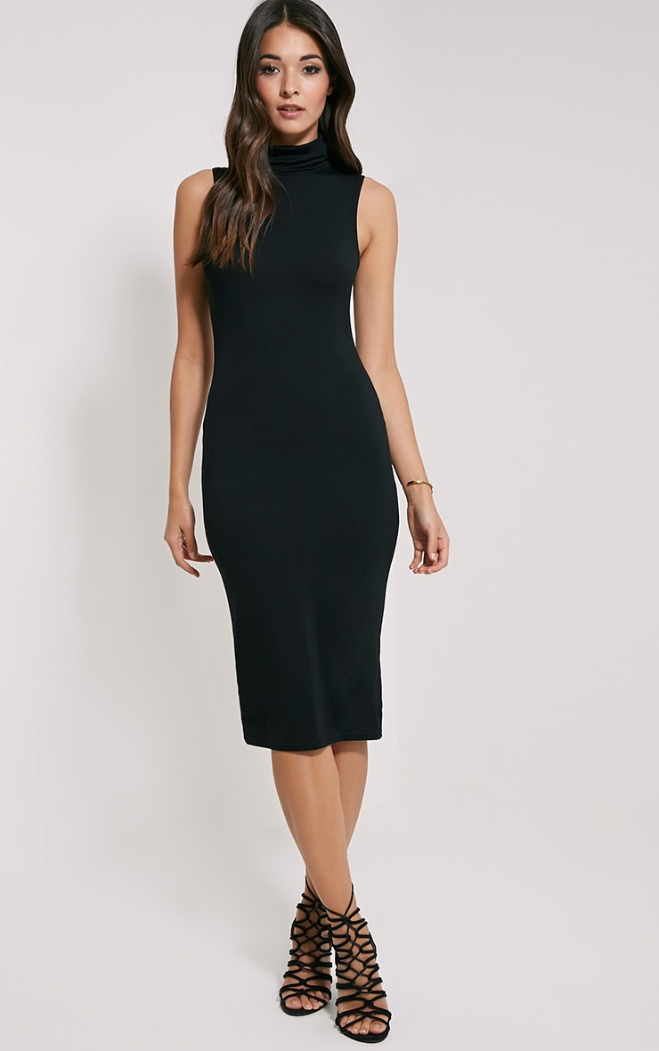 Iness Black Sleeveless Roll Neck Midi Dress 1