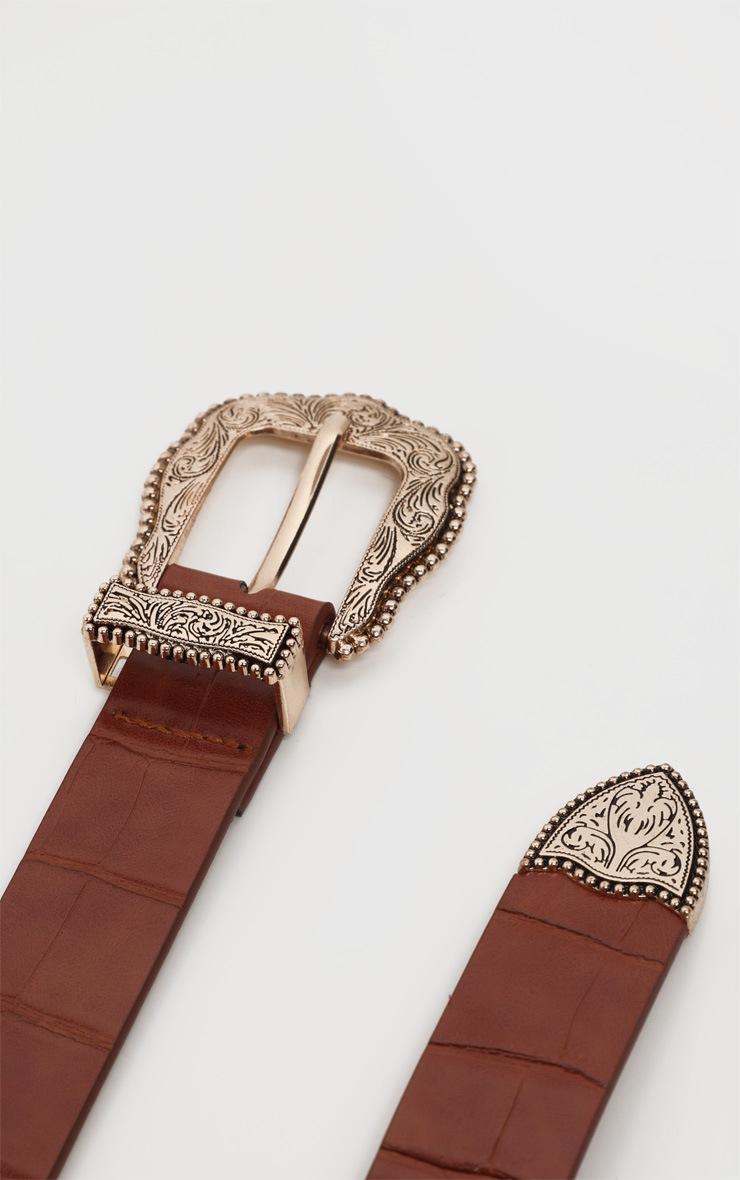Tan Croc Vintage Gold Buckle Western Belt 3