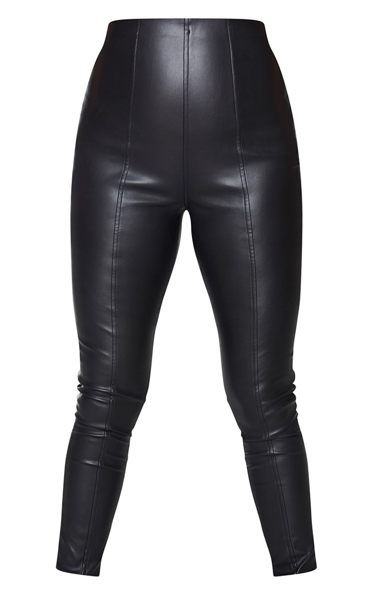 Black Faux Leather Stretch Leggings 5