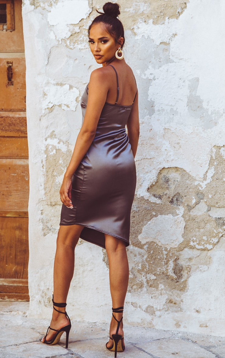 Charcoal Satin V Neck Midi Dress  2