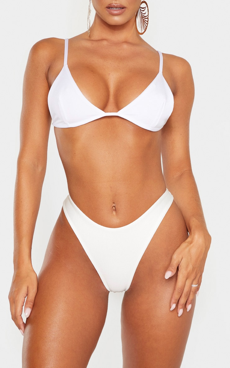 White Mix & Match Super High Leg Brazilian Bikini Bottom 1