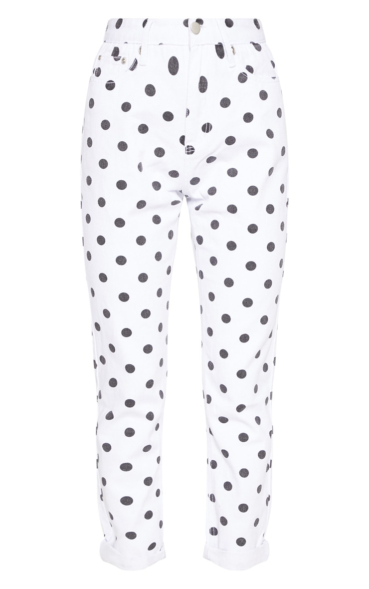 Mono Spot Print Straight Leg Jeans  3