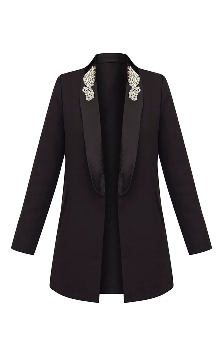 Black Embellished Applique Detail Oversized Blazer 3