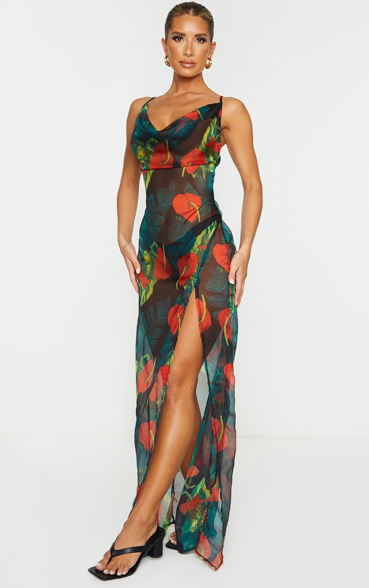 Red Floral Palm Cowl Neck Beach Dress 4