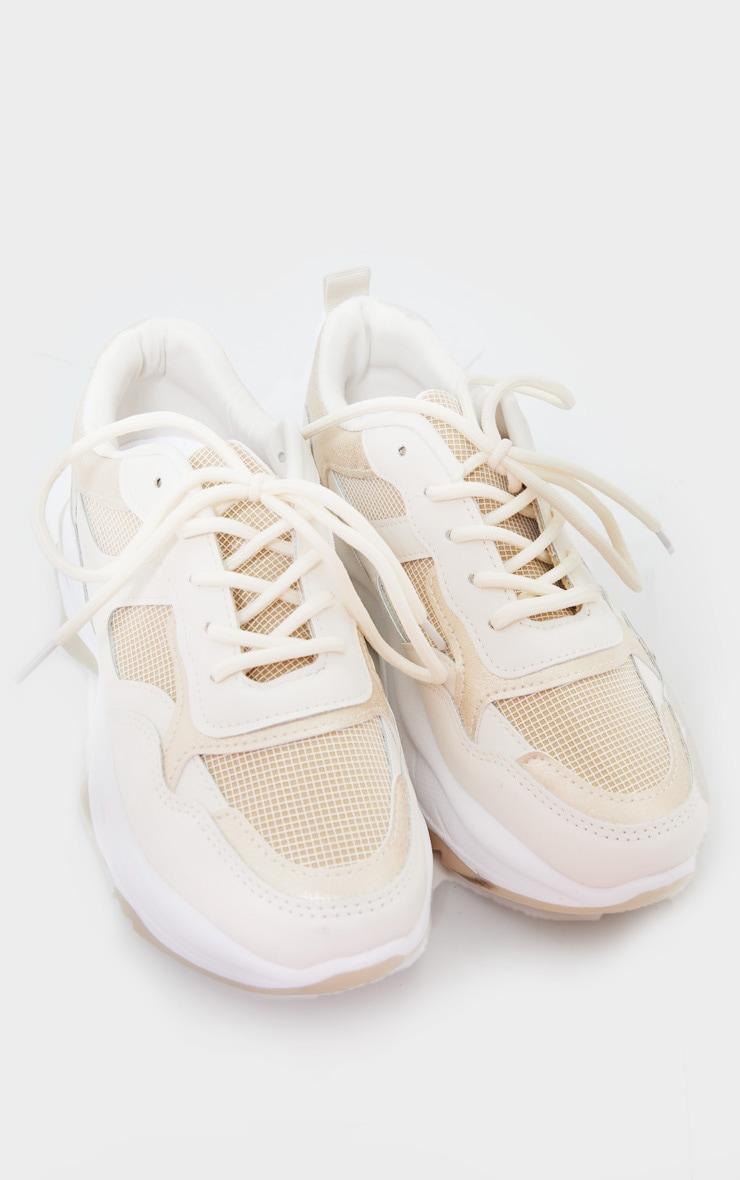 Beige Rubber Contrast Sole Sneakers 3